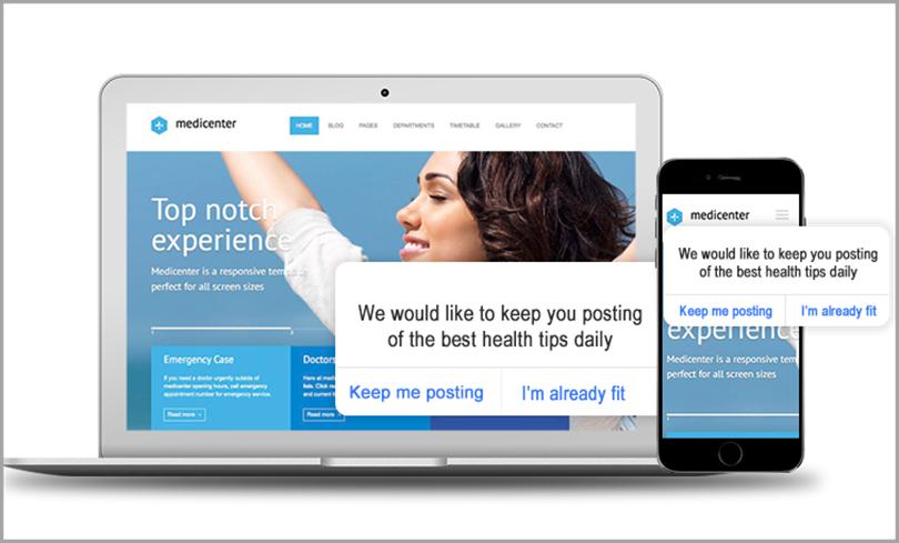 Medicenter opt in for push notification marketing