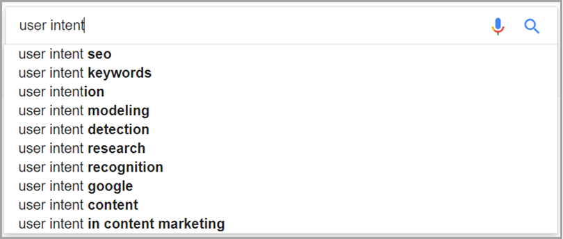 Search Suggestion for user intent