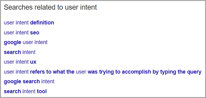 Searches related to feature for user intent