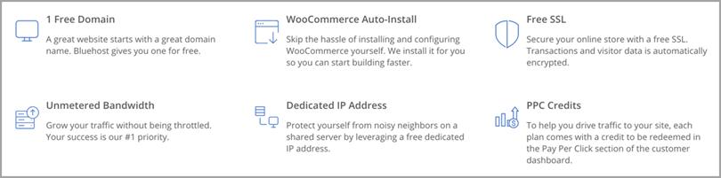 Bluehost eCommerce веб-хостинг для инструментов электронной коммерции