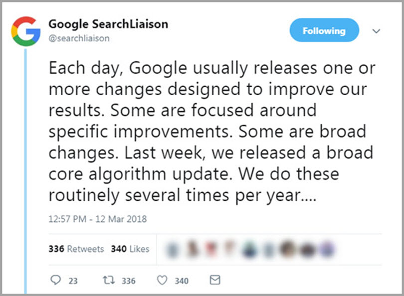 Brackets core Update for Google algorithm updates