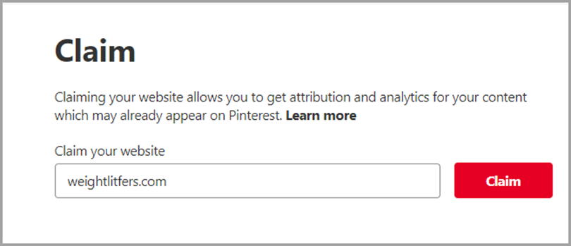 Claim you website for Pinterest tips