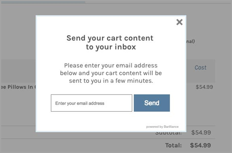 Cart content for ecommerce bounce rates