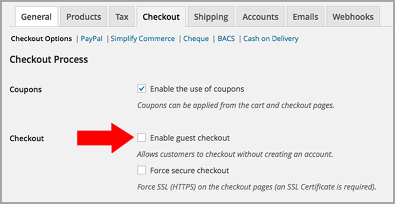 Enable Guest Checkout to reduce shopping cart abandonment
