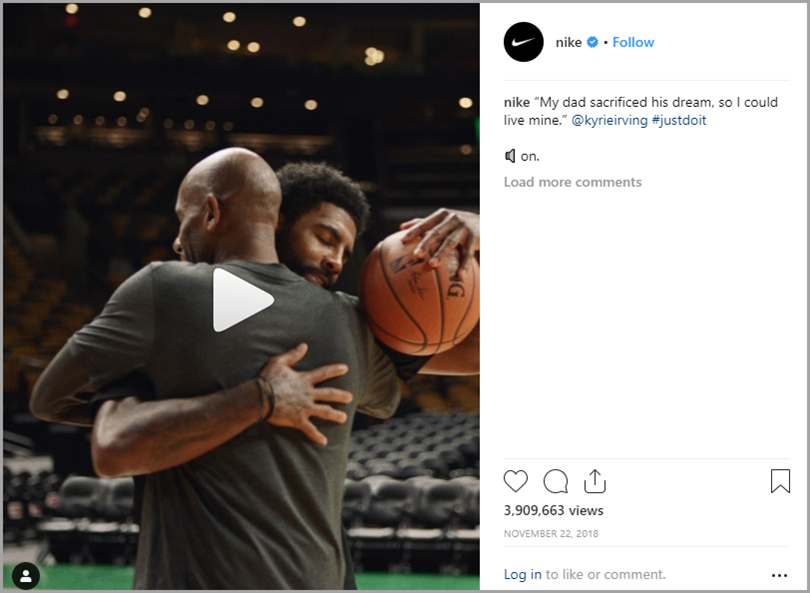 Nike Instagram post for emotional connections