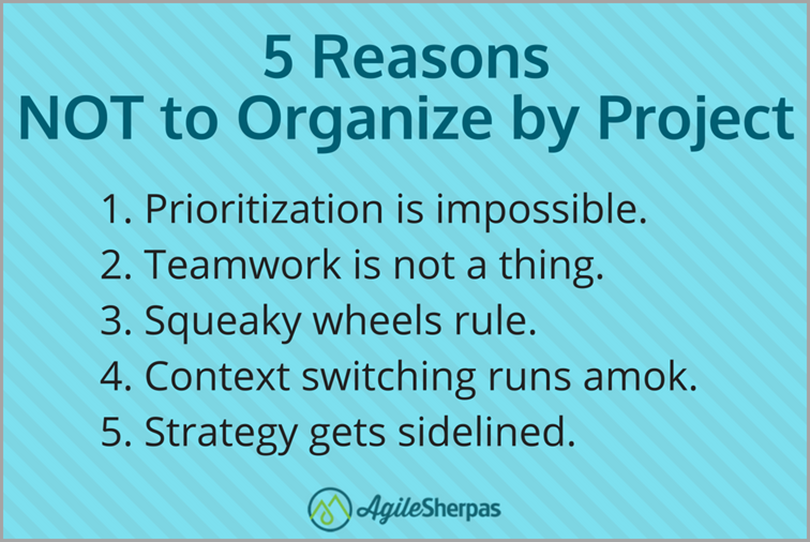 5 Reasons Not to Organize by Project for agile marketing mistakes