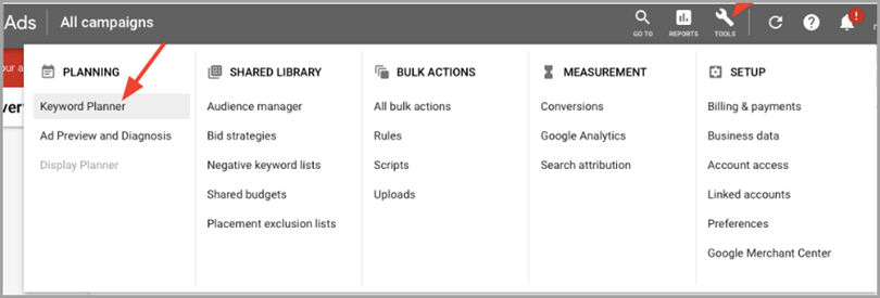 Branded keyword from Google Keyword Planner for measure brand awareness