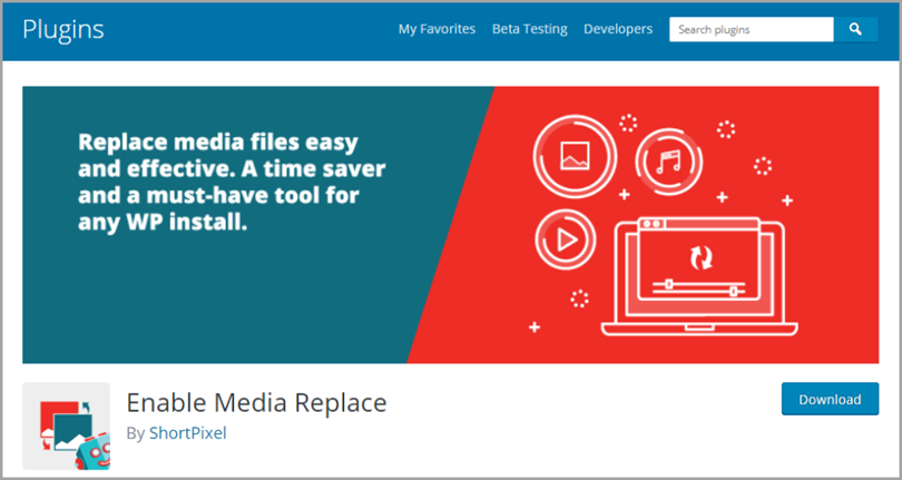 Enable Media Replace for wordpress plugins