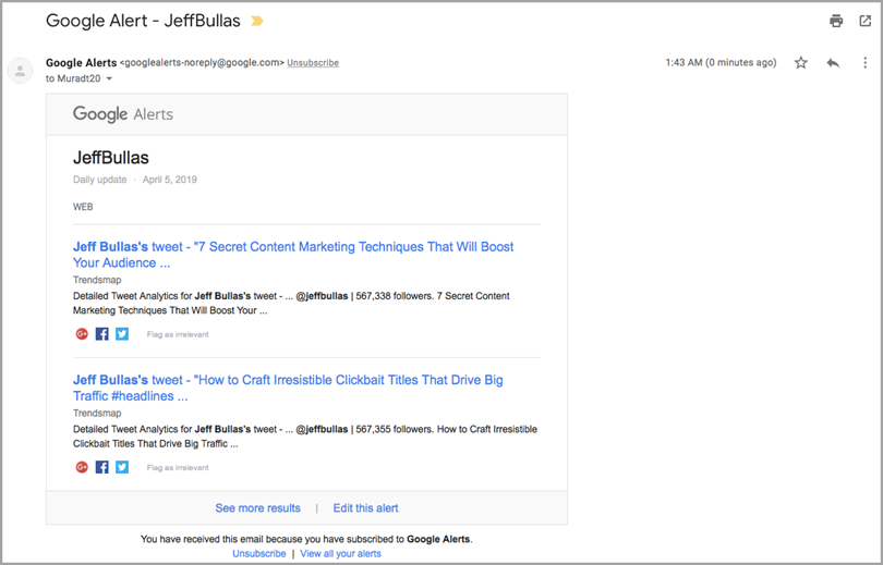 Jeff Bullas for Google Alert for measure brand awareness
