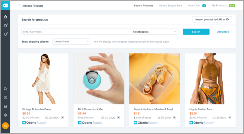 Oberlo for eCommerce tools