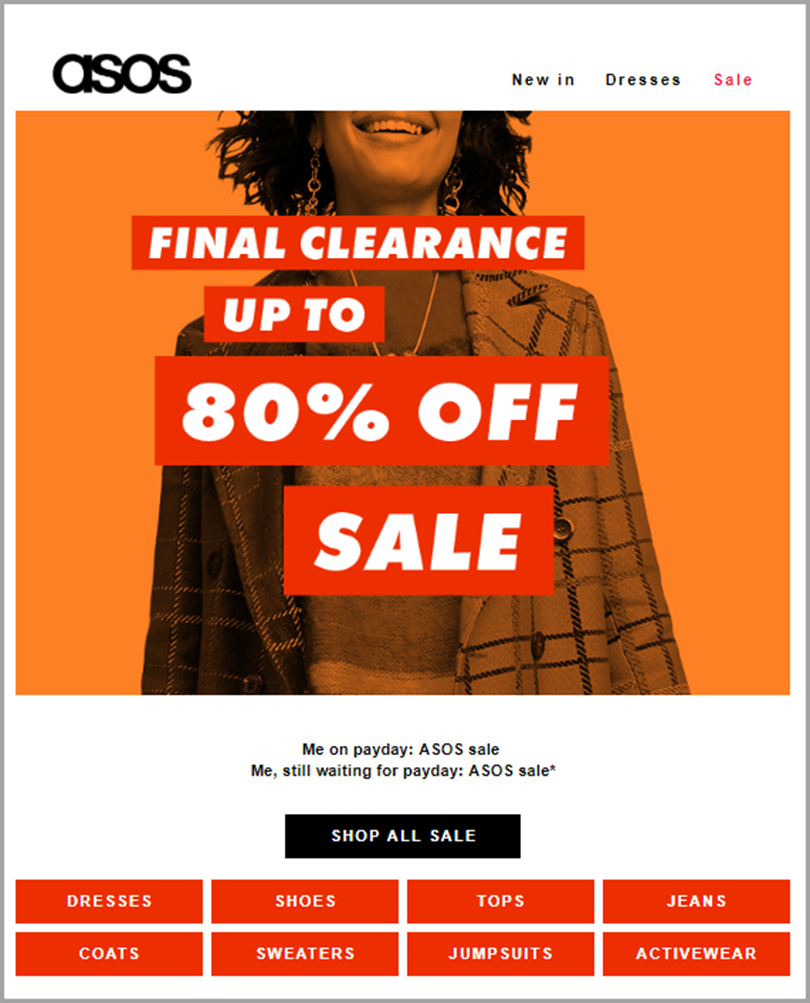 Schedule a Clearance sale for email newsletter ideas