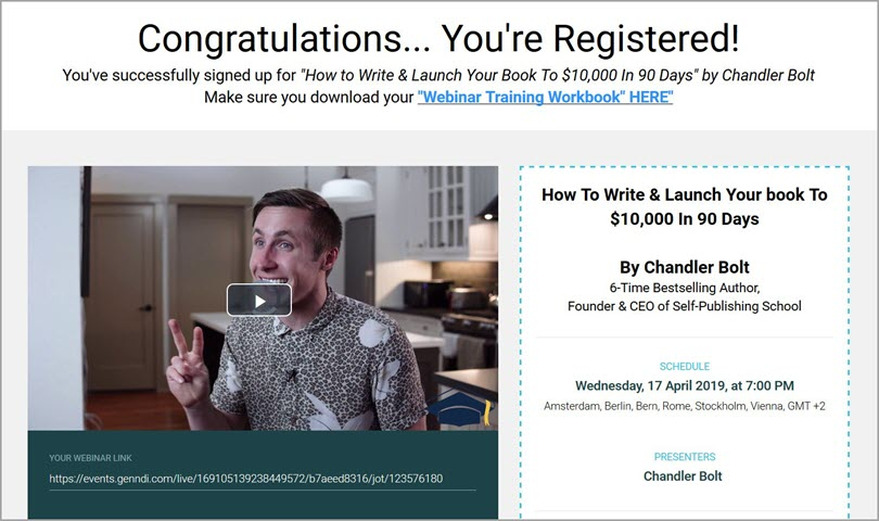 The confirmation page for how to create a webinar