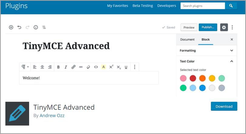 TinyMCE Advanced для плагинов WordPress