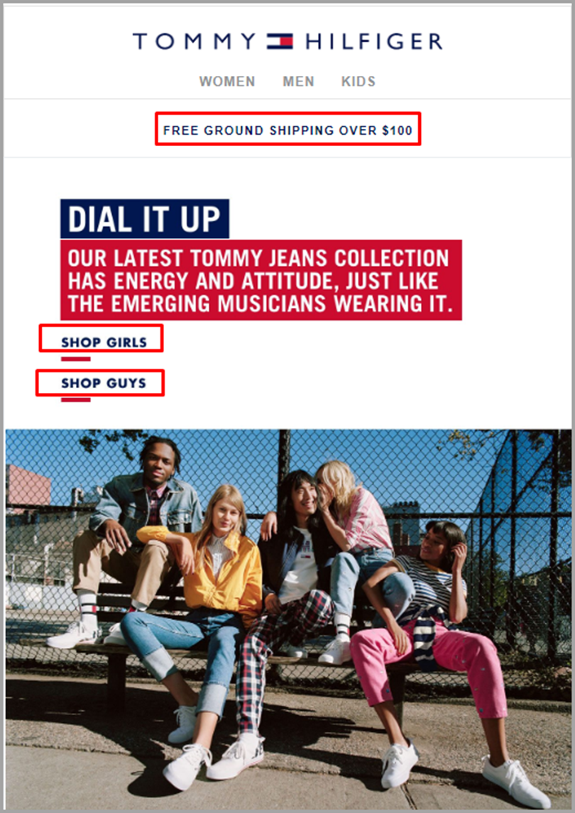 Tommy Hilfiger for email newsletter ideas