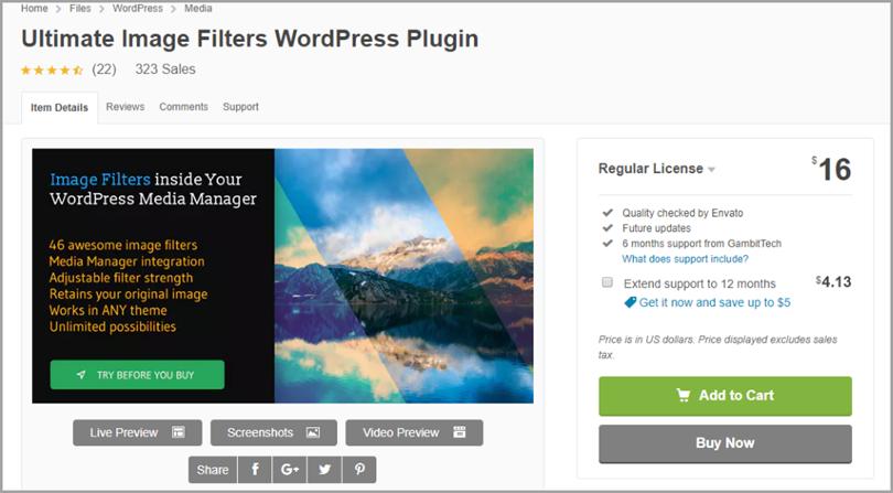 Ultimate Фильтры изображений для плагинов WordPress