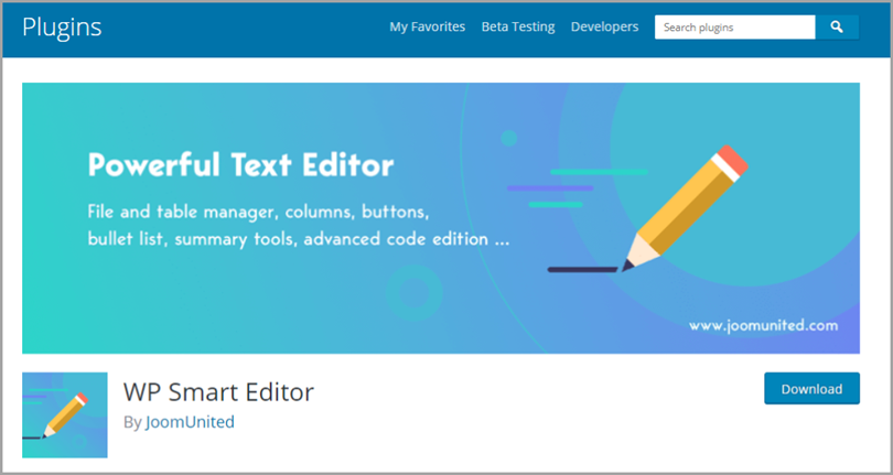 WP Smart Editor for wordpress plugins