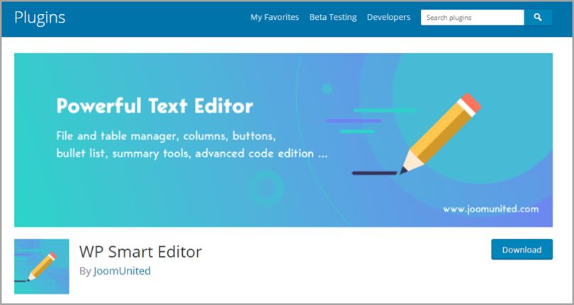WP Smart Editor for wordpress plugins