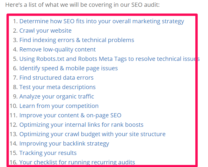 blog post about SEO audits for content marketing studies