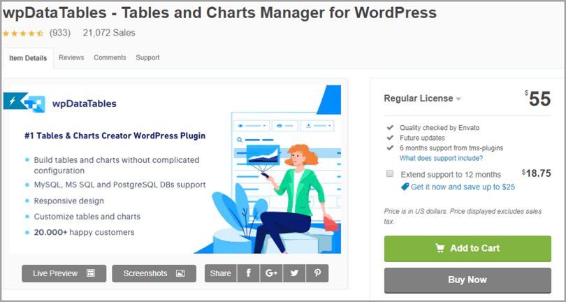 wpData Tables for wordpress plugins