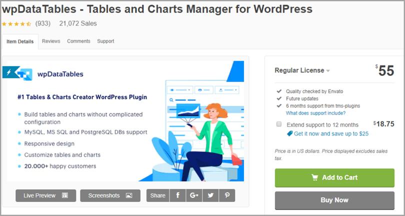 wpData Tables for wordpress plugins