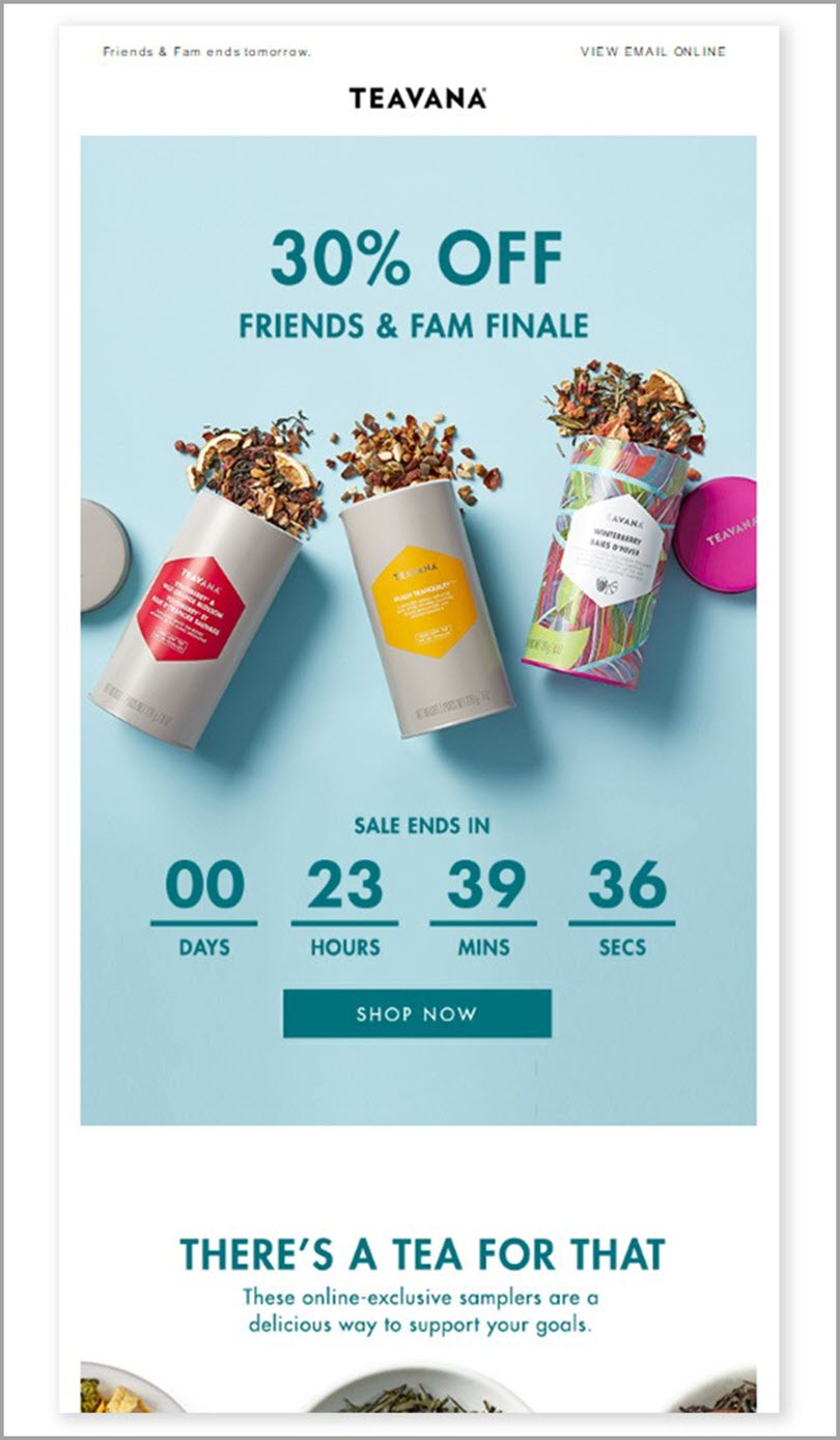 30 percent off friends and fam finale by teavana for limited time offer