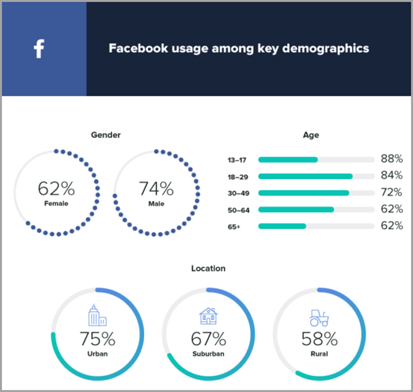 Facebook usage among key demographics to convert social media followers