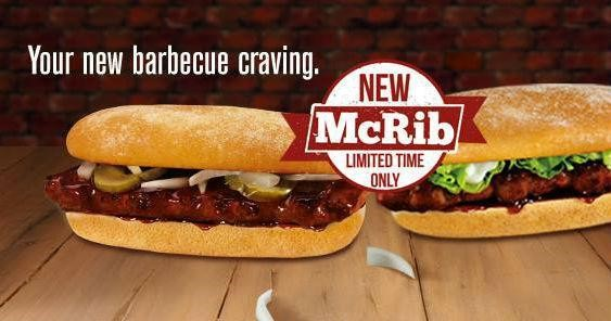 McDonald's McRib for limited time offer