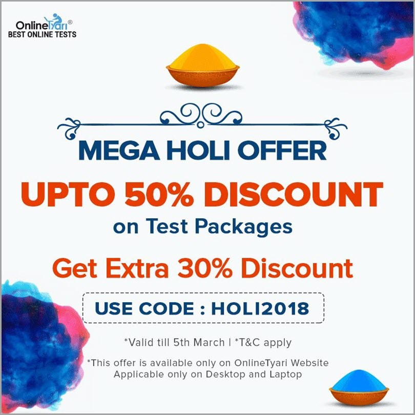 Mega Holi Offer by Online Tyari for limited time offer