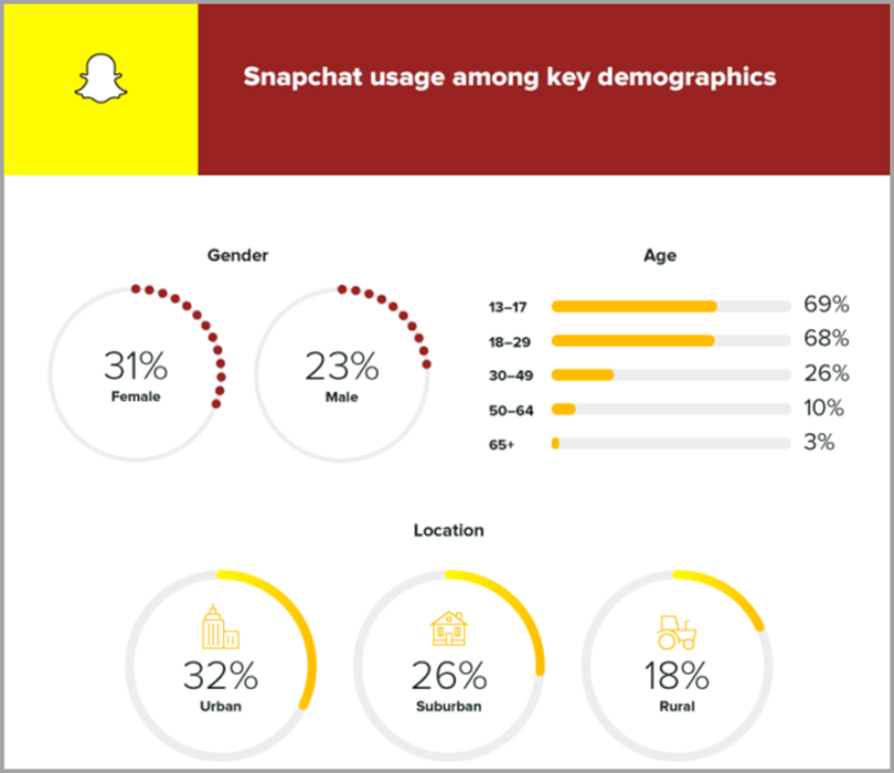 Snapchat usage among key demographics to convert social media followers