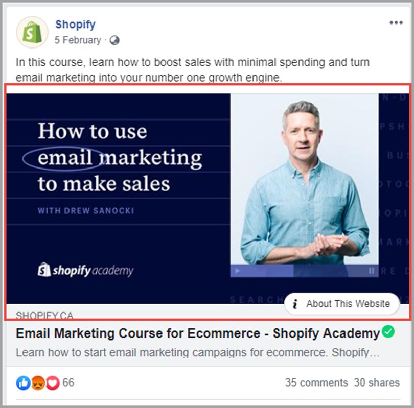 shopify for facebook link image