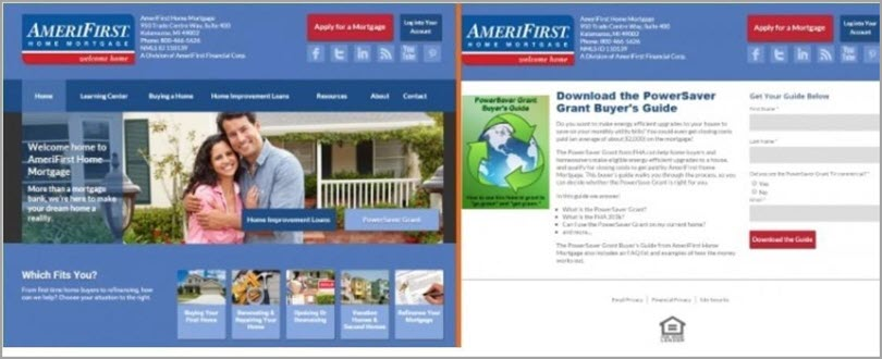 AmeriFirst Landing Page Conversion for website conversion rate