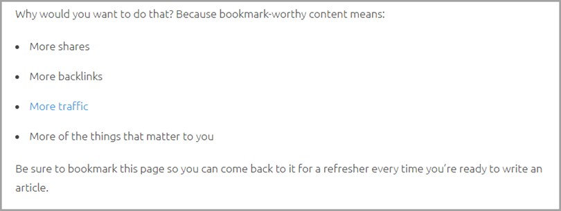 Ask for favor to aid consistency like the post about creating bookmark worthy content for changing workplace
