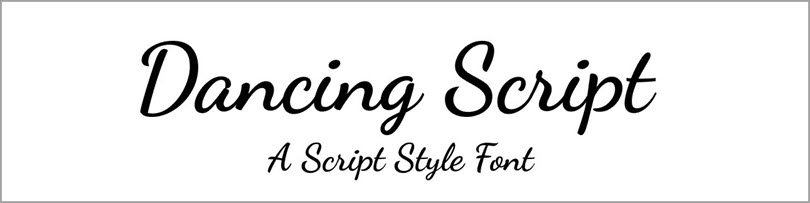 Dancing Script Style Font for fonts in website design