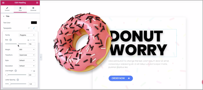 Donut Worry Landing Page Design for website conversion rate