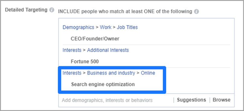Use Interests and Exclusions on Facebook Ads for more conversions