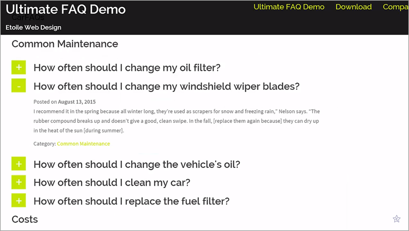 Ultimate FAQ Demo for site answers