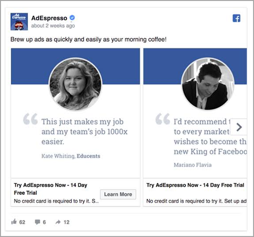 AdEspresso Interest Stage Facebook Ads for ecommerce marketing funnel