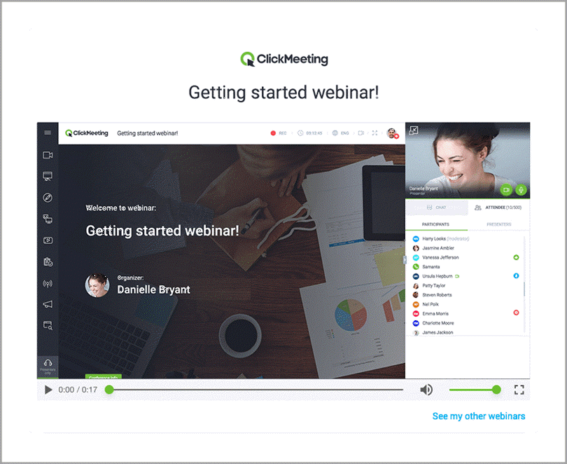 Click Meeting Webinar for video on demand