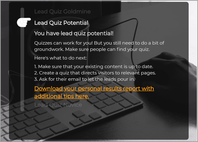 Lead Quiz for personalized quizzes