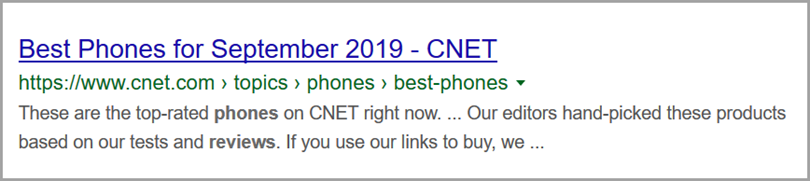 Best phone for September URL example for the URL structure