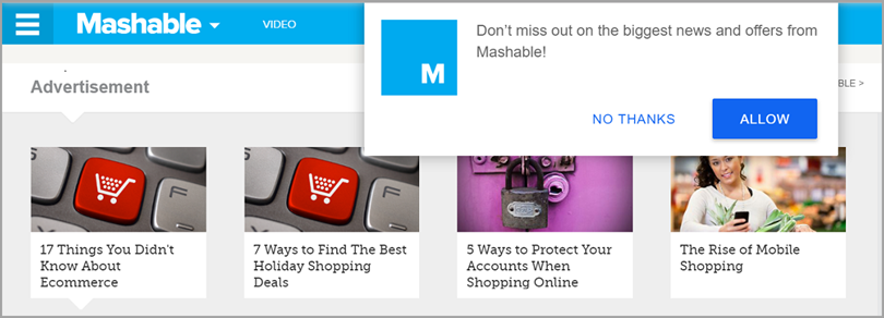 Mashable for web push notifications