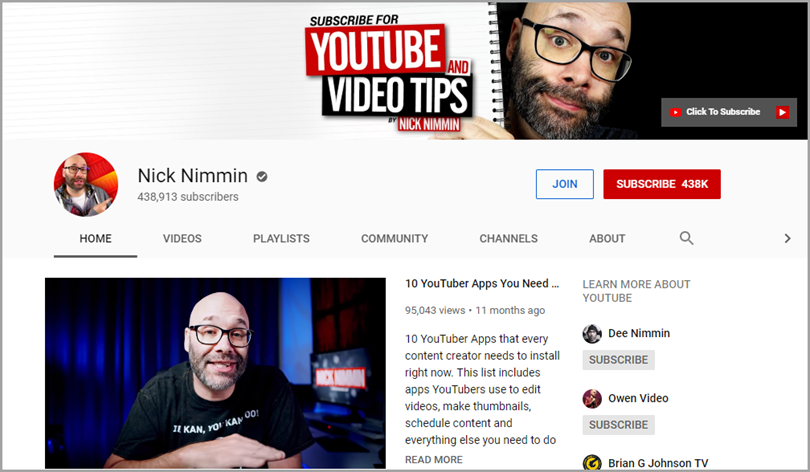 Nick Nimmin Youtube and Video Tips for influencer video marketing