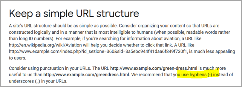 Simple URL structure for the URL structure