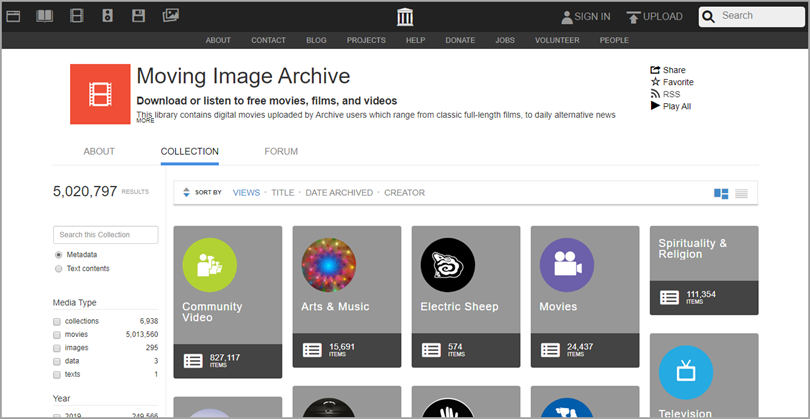The Internet Archive for youtube alternatives