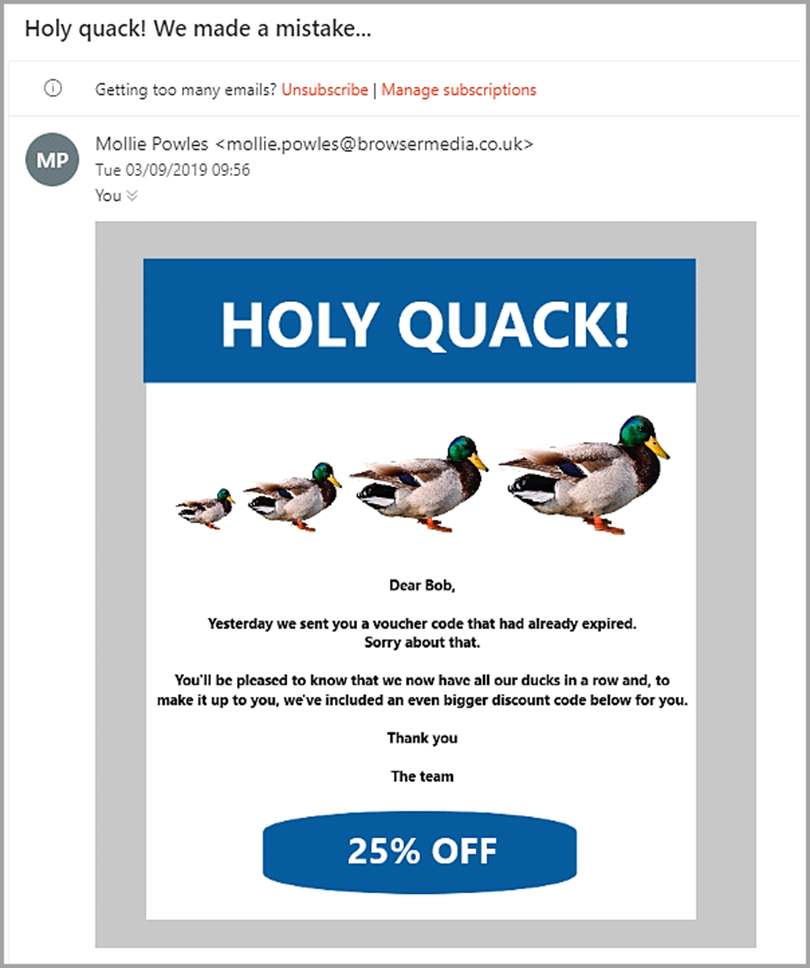 The Oops Email when email marketing fails