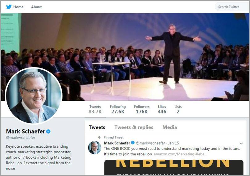 Twitter influencer screenshot