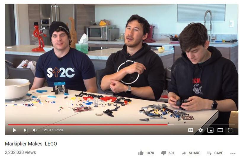 YouTube influencer screenshot