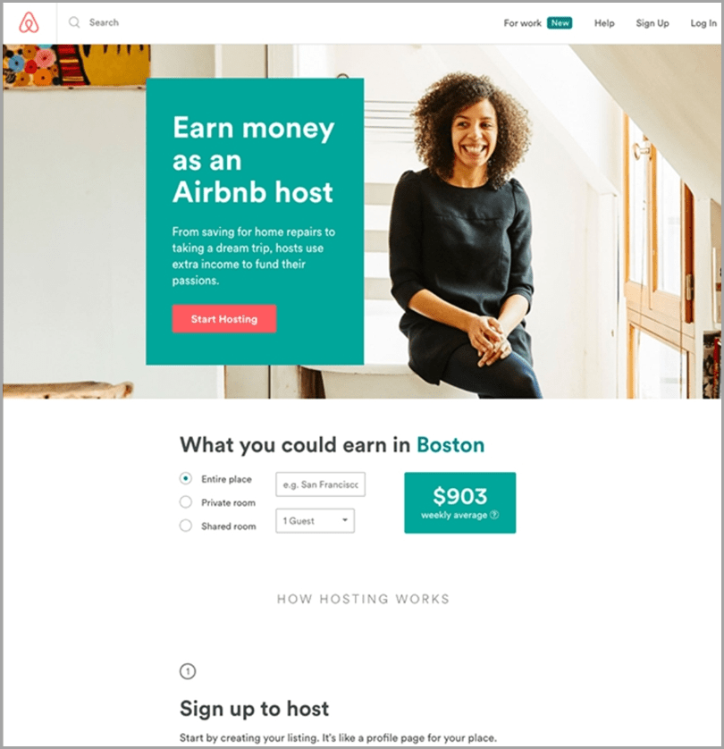 Airbnb Landing Page for b2b content personalization