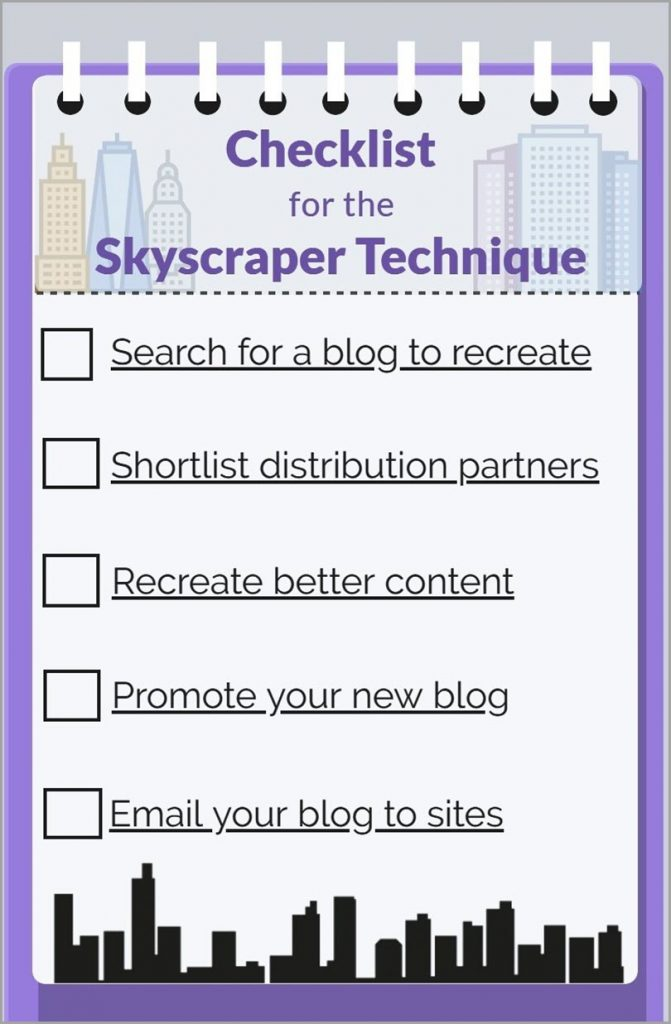 Checklist for skyscraper technique