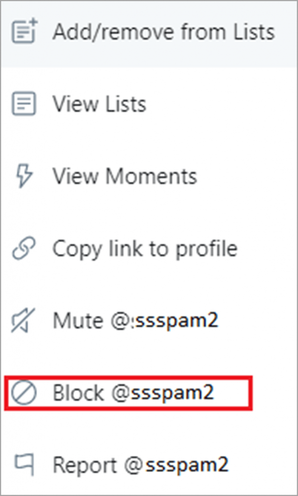 Choose block in Twitter for social media trolls